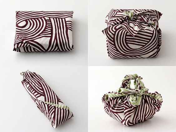 Green gift-giving with furoshiki wrapped presents