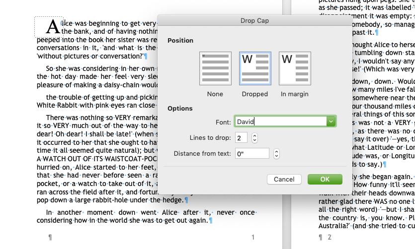 MS Word Drop Cap menu with options for creating a Drop Cap