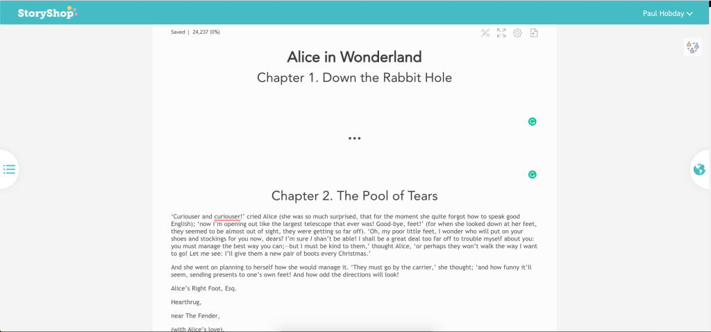 Story Shop Writer - Displaying the Sample Text of Alice in Wonderland