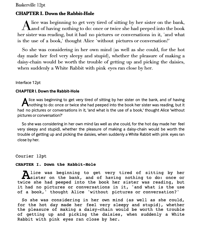 three fonts compared - Baskerville, Interface, and Courier