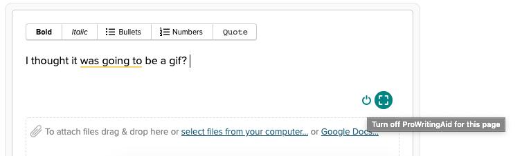 ProWritingAid off button