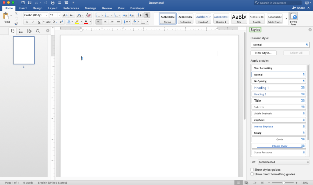 Blank document in Microsoft Word