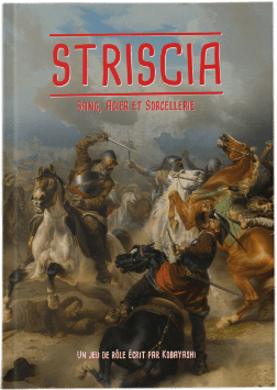 "One of Kobayashi's role-playing games, ""Striscia,"" on display."