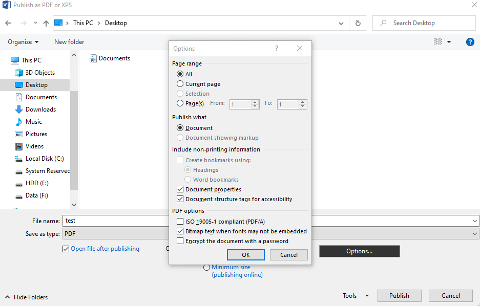MS Word Export to PDF Options