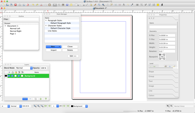 Scribus uses a number of tools panels that can be viewed/hidden as needed.