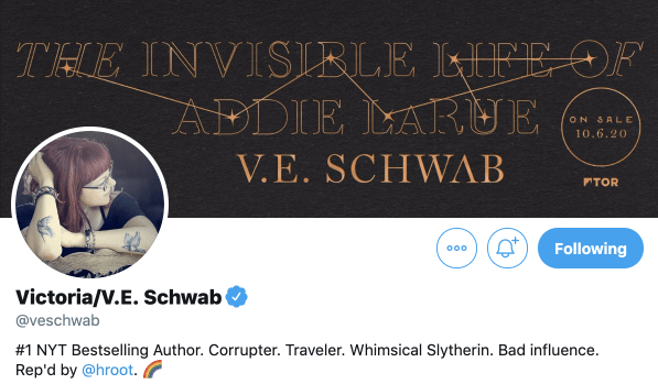 V.E Schwab Twitter header as explain of effective author/social media profile
