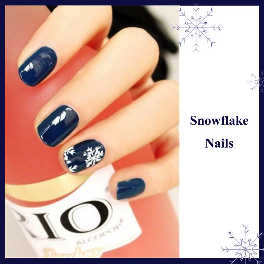 Geous D I Y Christmas Nail Art Designs Snowflake Nails