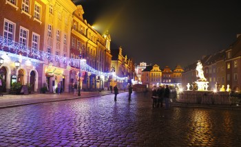 Night Lights Of The City On Christmas Night In Poznan