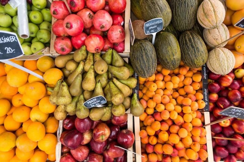 Viele Obst und Gemüse