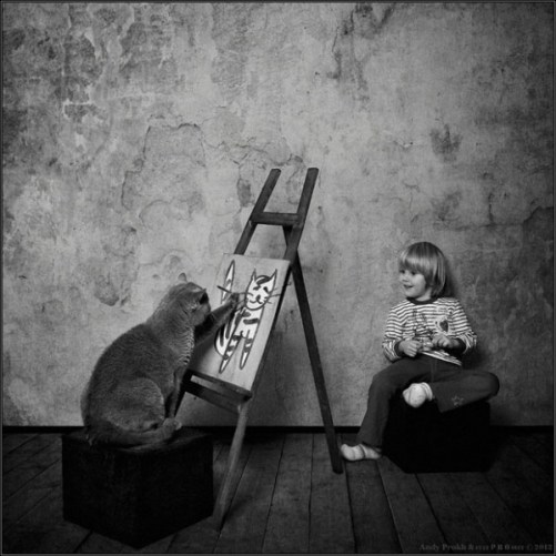 Petite fille et son chat1