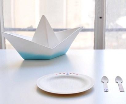Lampe bateau en papier- Bleu