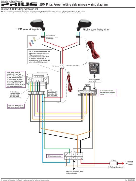 2012+ 3rd gen Prius JDM power folding side mirror wiring diagram (using kit by Top Sage International, Co., Ltd.)