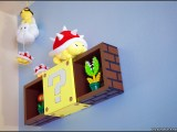 Custom Super Mario coin block shadow box invaded by Lakitu and his minions of Spiny