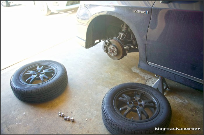 Tire rotation, front to back and back to front.