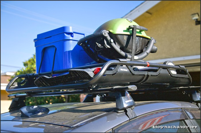 Yakima OffGrid loaded with Weber Q1200 and 50 L Ice Vault cooler by Blue Coolers