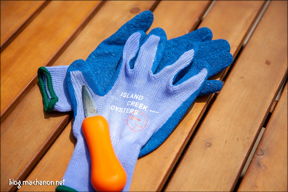 Island Creek Oysters starter pack shucking gloves and shucking knife