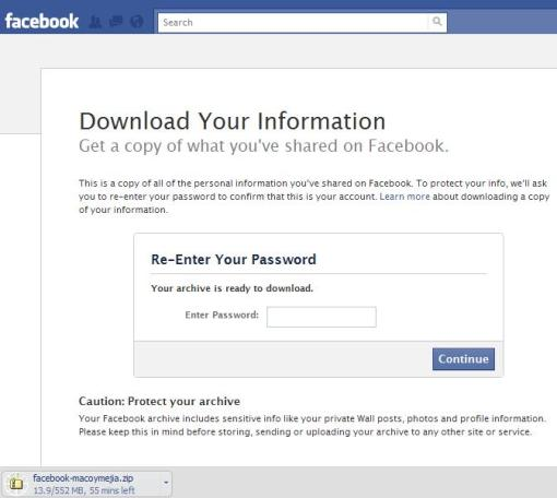 Downloading Facebook Data