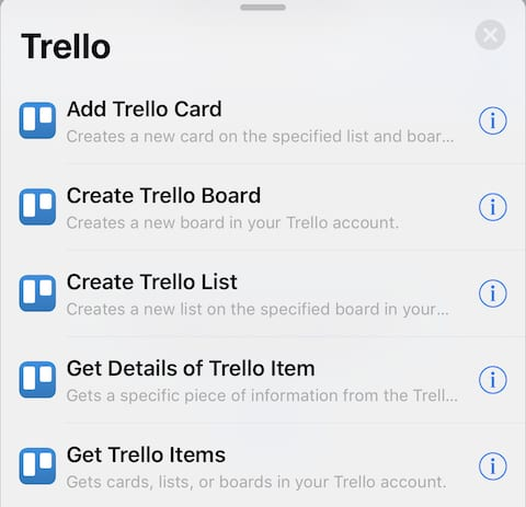 (Actions associated with the Trello task management app)
