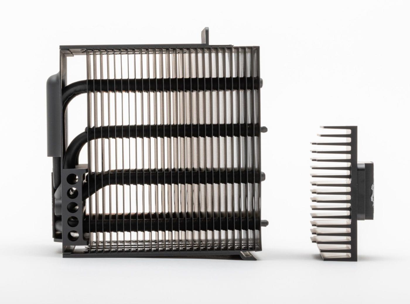 2019 Mac Pro – Side view of heatsinks showing airflow openings