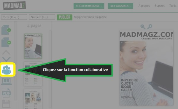Sélectionner la fonction collaborative sur votre magazine Madmagz