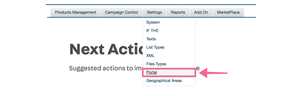 settings portal link