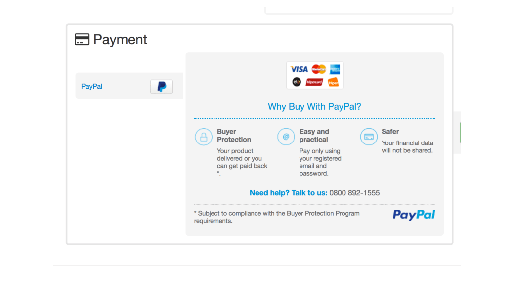 paypal payment checkout vtex store
