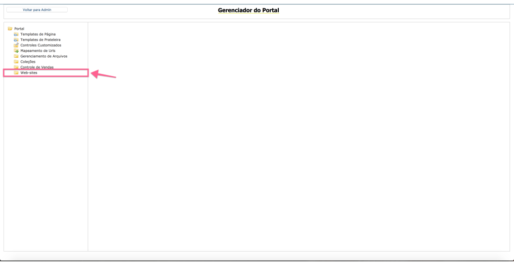 Selecting Websites Folder in VTex portal