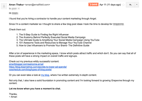 Screenshot of a good follow up email example