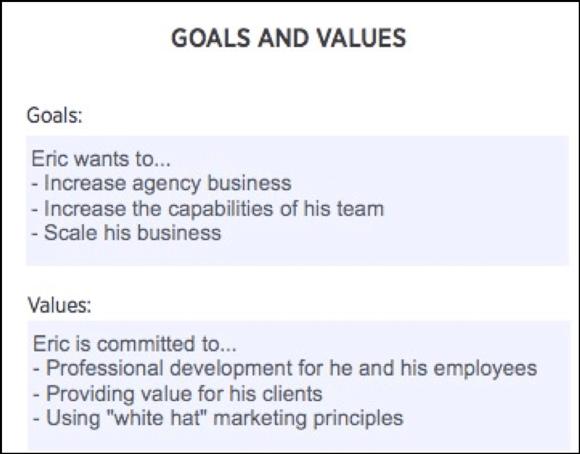 Define goals and values
