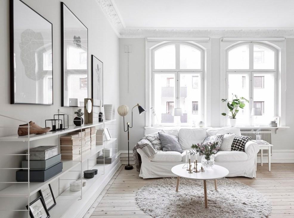 Idée déco pour un salon scandinave blanc et cosy