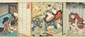 Utagawa Kunisada (1786–1865, zugeschrieben) Belauschtes Liebespaar, um 1830/40 Farbholzschnitt © Leopold Privatsammlung, Wien; Foto: MAK/Georg Mayer