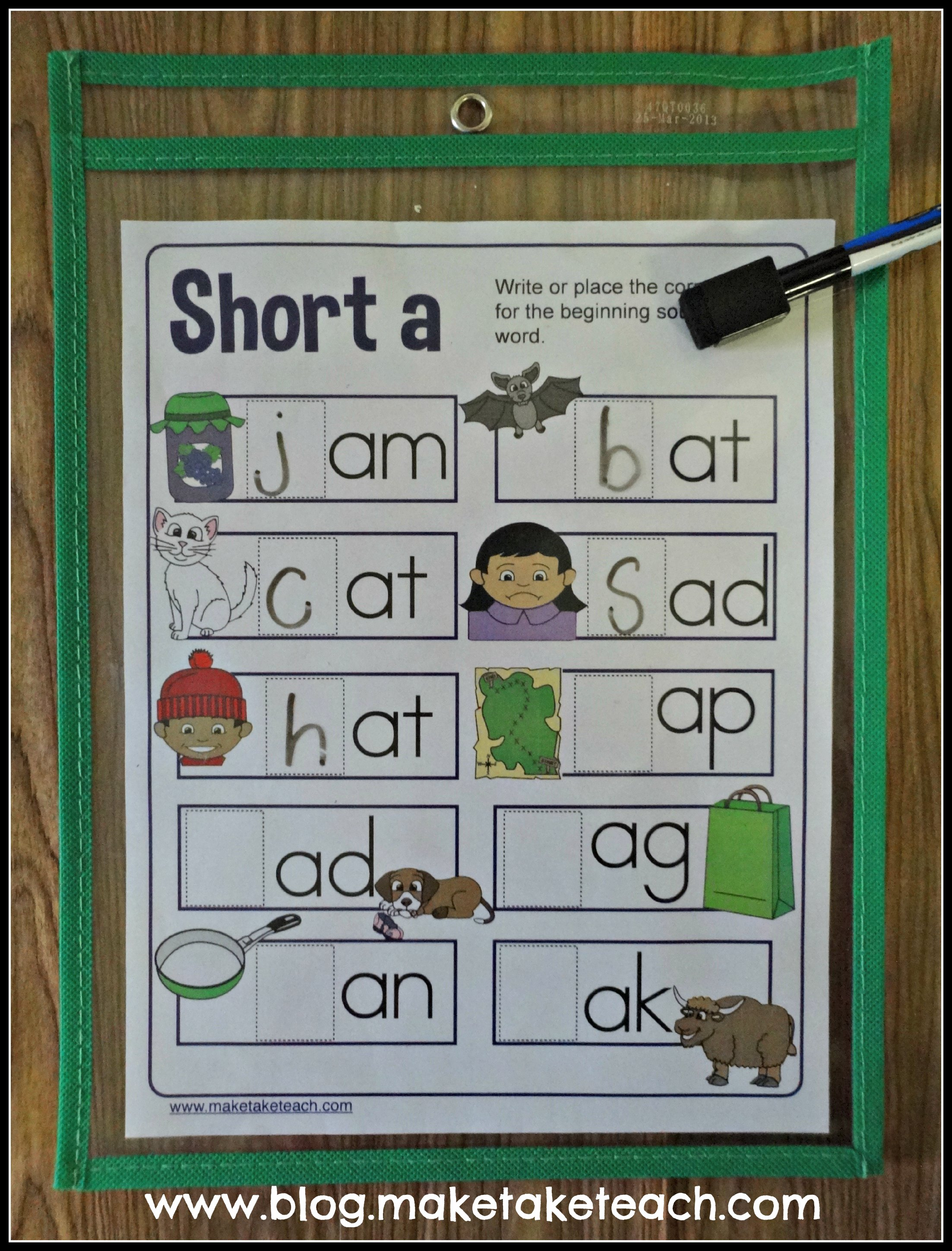 Dry Erase Pockets All About Vowels