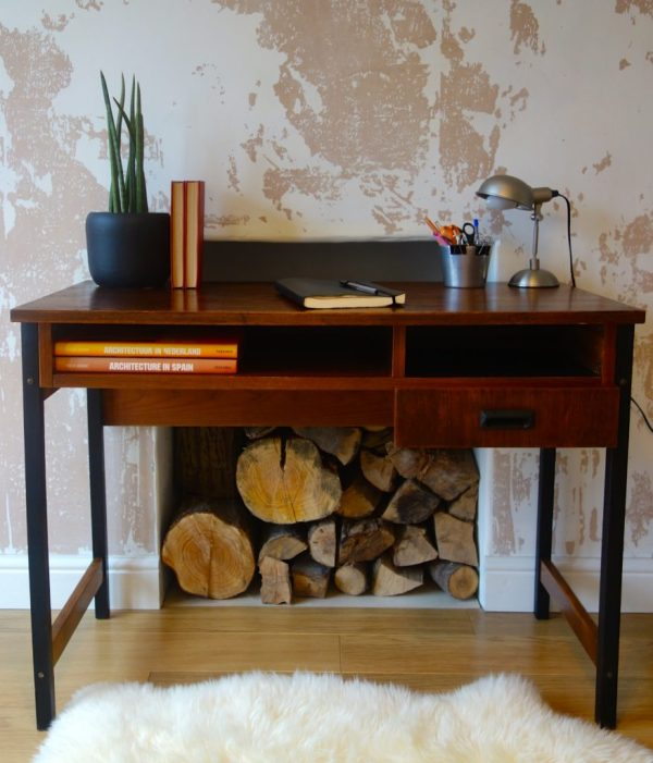 Industrial style teak desk with black legs. circa late 60's early 70's. Danish style mid -century design