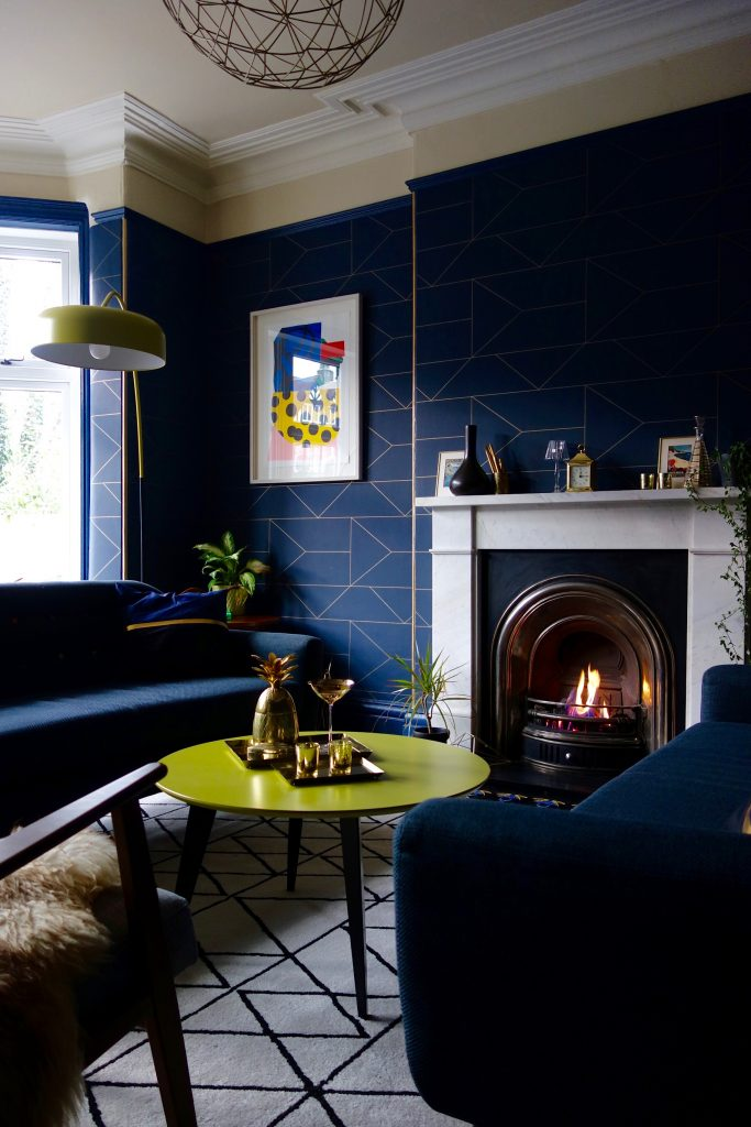 Ferm Living Lines Wallpaper in the Edwardian Drawing Room