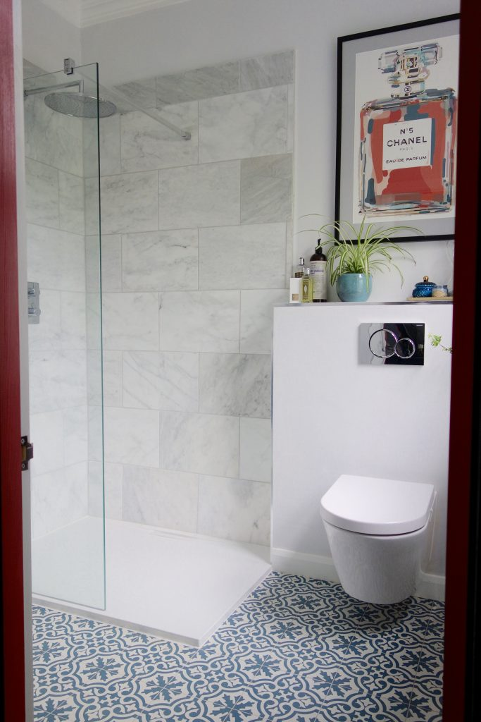 Marble walk in shower