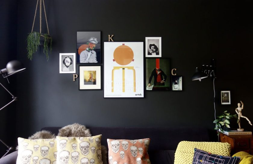 Gallery wall on black wall