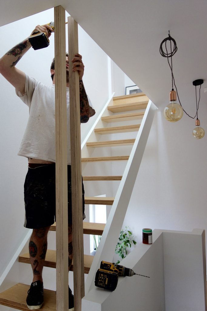 Banister being fitted