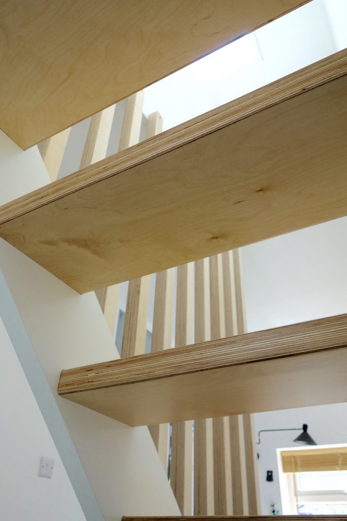 Birch ply treads with open risers
