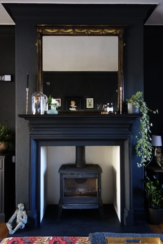 Living Room Black Fireplace