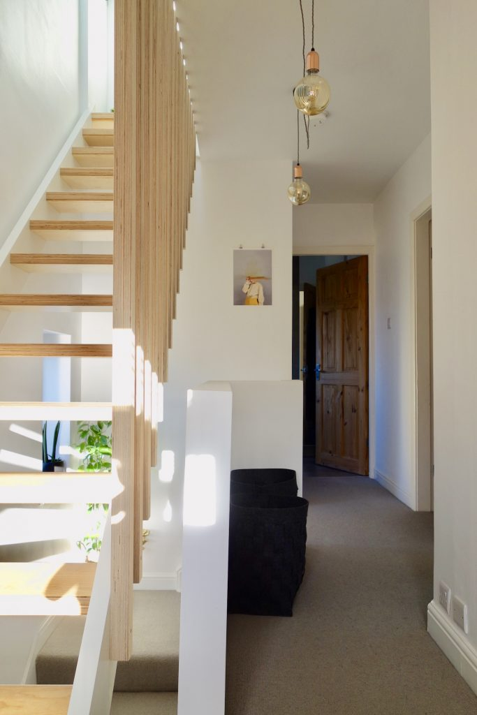 Birch plywood staircase