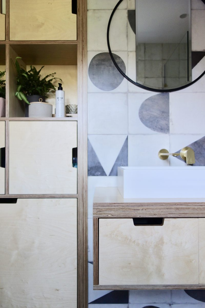 Monochrome and Birch plywood bathroom