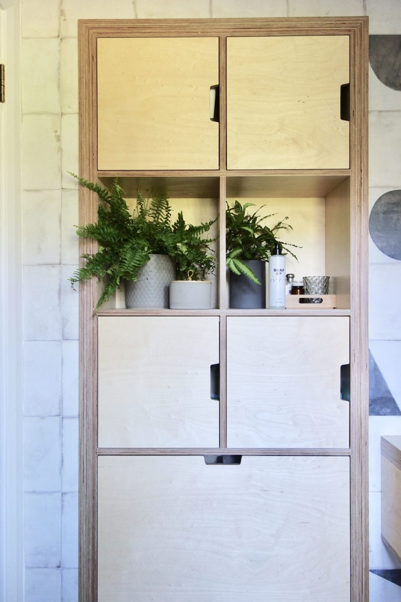 Built in plywood bathroom storage