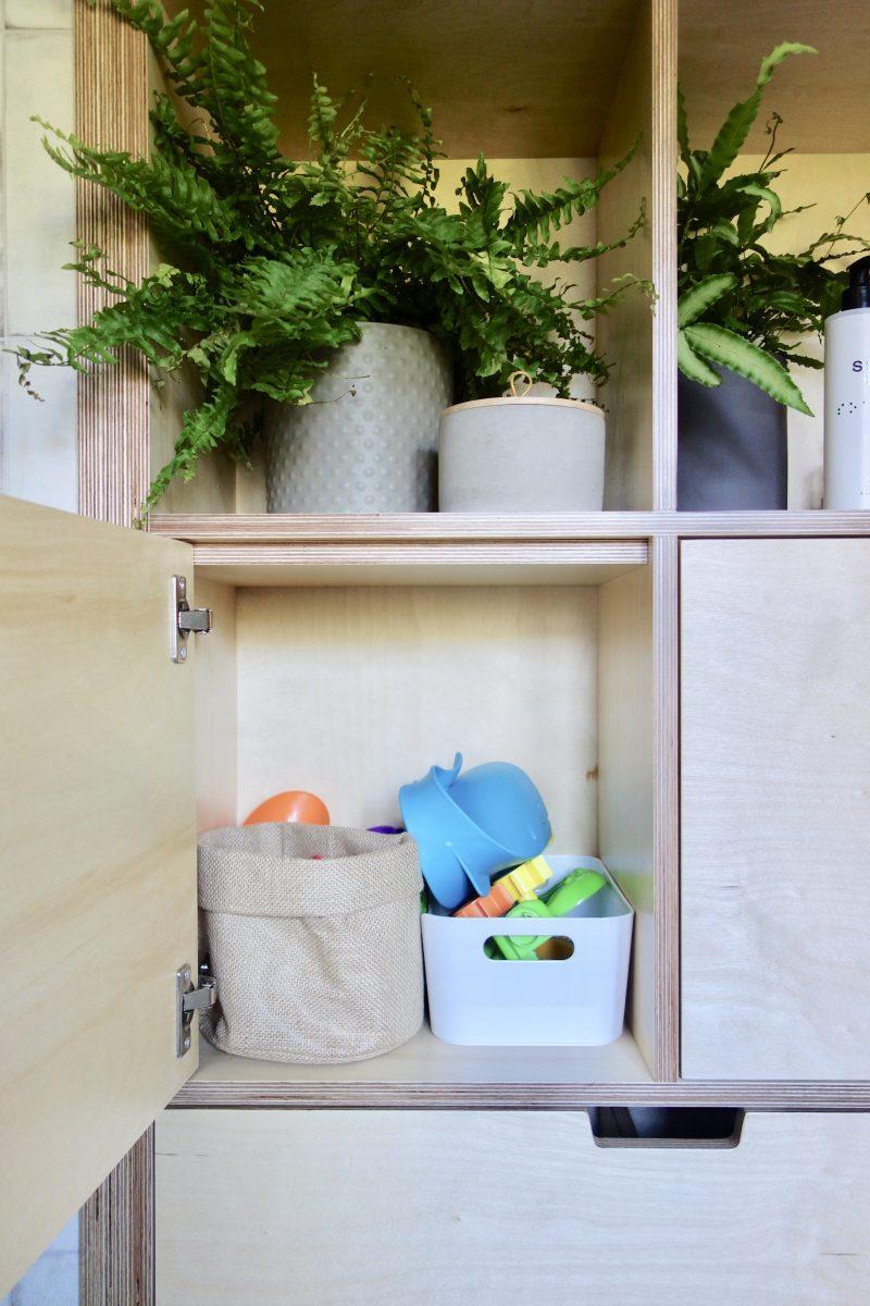 Built in birch plywood bathroom storage