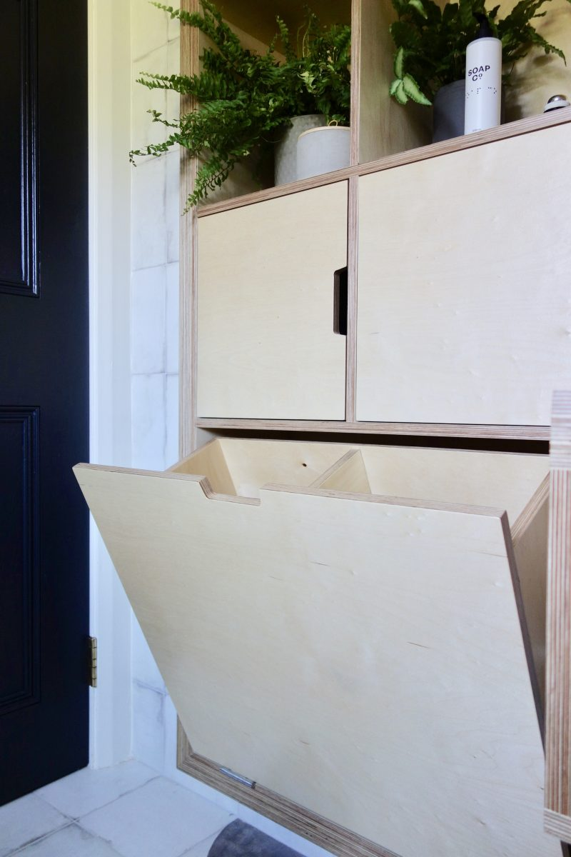 Built in plywood bathroom laundry box