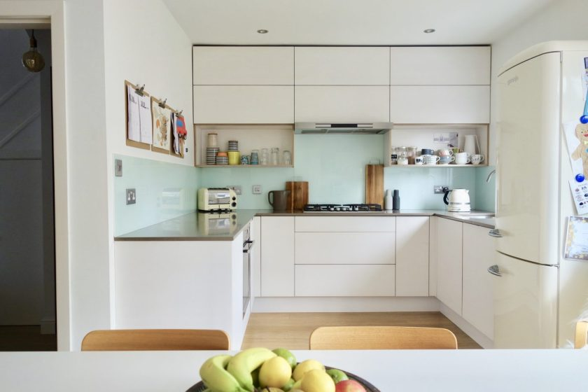 Hand painted birch plywood kitchen fronts