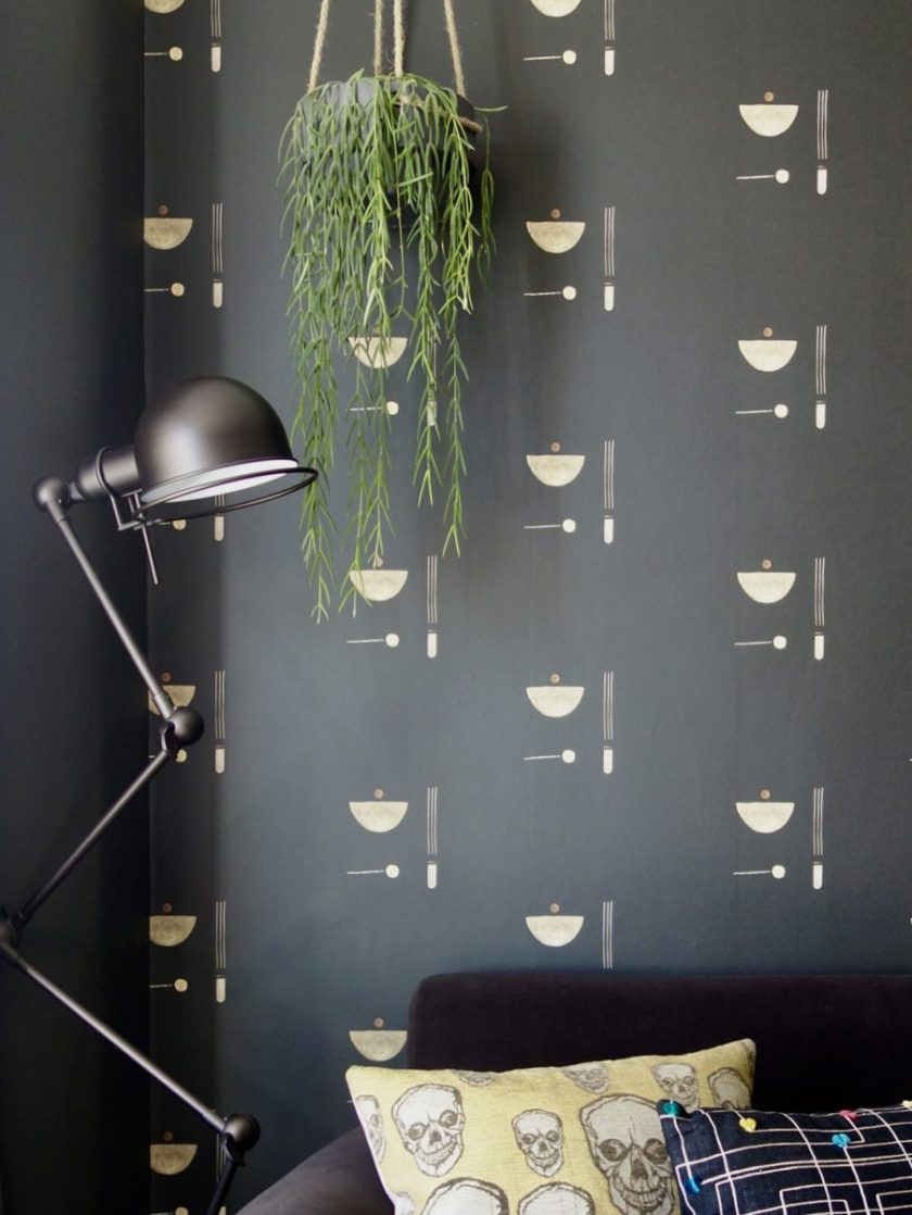 Black Parrots Studio Painted Wallpaper