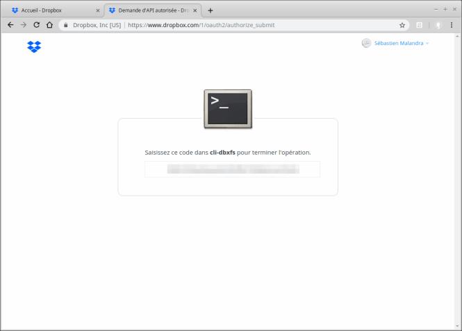 Dropbox sous Linux - Token après autorisations données