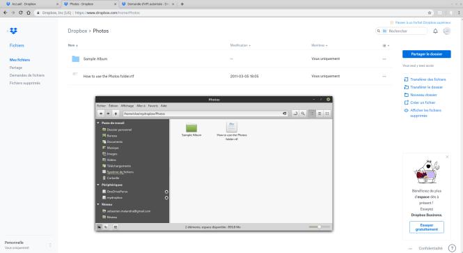 Dropbox sous Linux - comparaison explorateur de fichiers et navigateur web