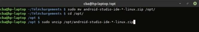 Décompression d'Android Studio