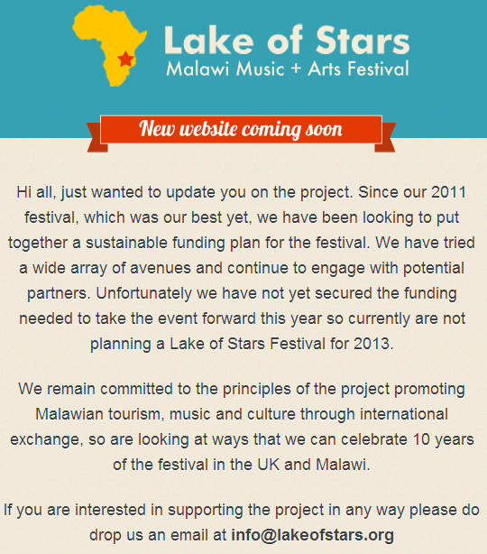 Lake Of Stars announcement
